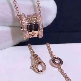 寶格麗彈簧雙邊鑽項鍊 cnc精雕 白金玫瑰金
