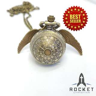 Angel Wing Antique Web Pocket Watch Necklace (Available Now)