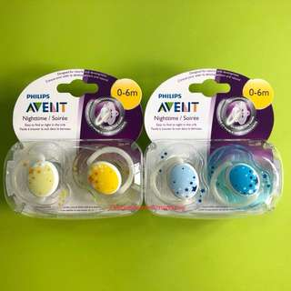 🌈(Ready Stock) 🆕Philips AVENT BPA Free Nighttime Infant Pacifier, 0-6 Months, 2-Count, Yellow/Blue Set