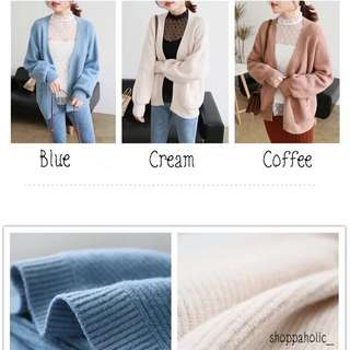 Knit Cardigan (Dust Blue, Cream, Coffee)