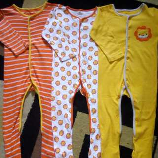 Mothercare sleepsuit 3pcs