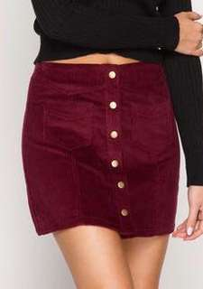 Forever 21 Corduroy Button Up Skirt