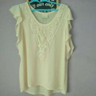 Loose Top embroidery Creme