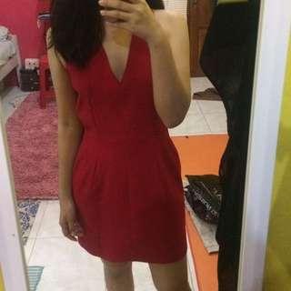 (JOGJA) NEW Mango v neck backless mini red dress