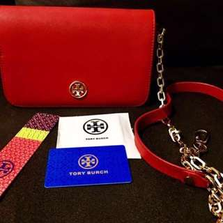 100% Authentic Tory Burch Robinson Red/Gold Hardware