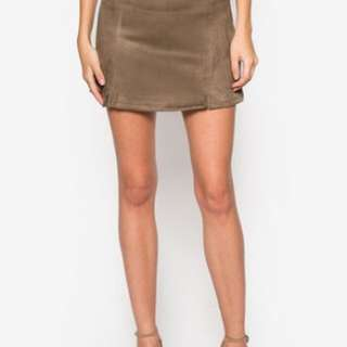 Something Borrowed Panelled Suede Skirt
