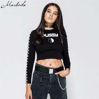 PEPSI/PUSSY Long sleeve Crop Top Checked