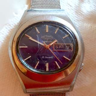 Vintage blue Rotary automatic watch with date window, blue dial