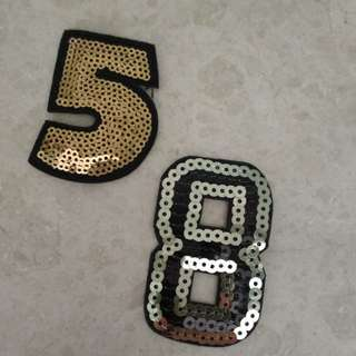 Iron On Sew on Patch - Number 8 and 5 Sequins
