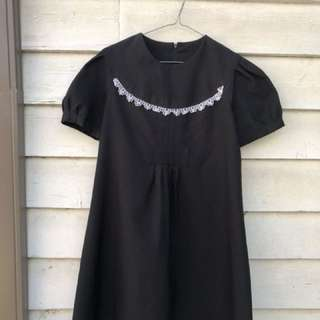 Vintage Babydoll Dress - Black And White Lace