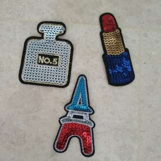 Sew On Patch - Sequins - No 5 Perfume, Lipstick, Tower
