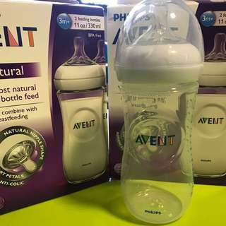 🌈 (Ready Stock)-Twin Pack💯Brand New Philips Avent BPA Free Natural Polypropylene Bottle, 11 Ounce, 330ml, 2 Bottles
