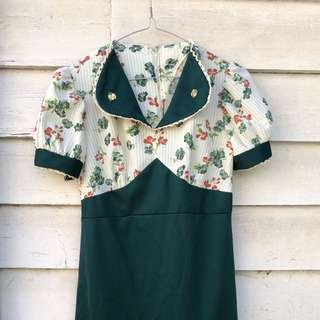 Vintage Green And Cream Floral Dress