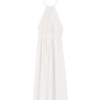 99% new 春季女裝雪紡金屬圈繞頸白色長裙