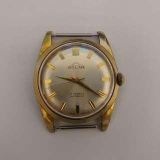 (不議價, Final Price) Vintage SOLAR Manual Watches 古董手錶 (可行走, 錶殼有些鬆)