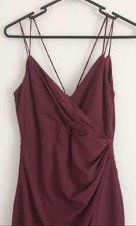 Bardot wine burgundy red slit long formal dress
