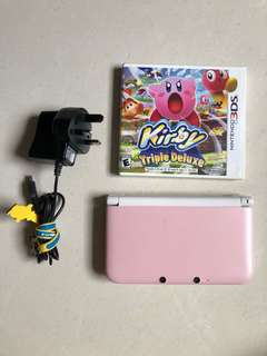Pink white 3DS XL with games