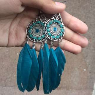 Dreamcatcher Feathered Blue earrings 🦋