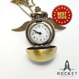 Vintage Pocket Watch Angel Wing Necklace (Available Now)
