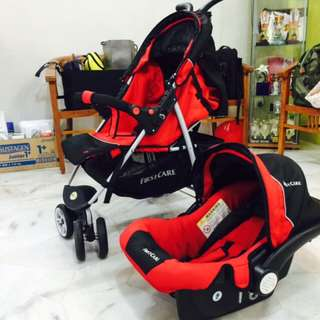 2 in 1 Baby Stroller (Red Color)