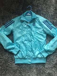 Adidas baby blue jacket windbreaker zip up