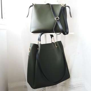 BN 2 BAGS FOR $20 FOREST GREEN Work Bag Shoulder Bag Casual Sling bag