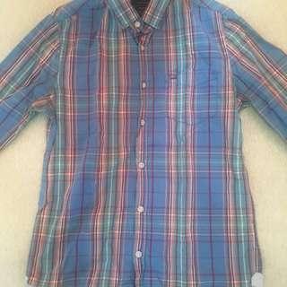 Cotton-On Checkered Long Sleeve Shirt (XXS - Light Blue)
