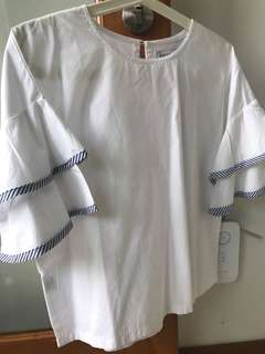 COTTONINK Blouse Size M White Like New!