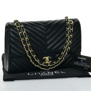 Chanel Chevron Flap Premium (Black/Gray)