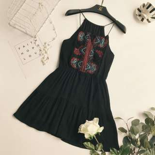 Black bohemian embrioded dress