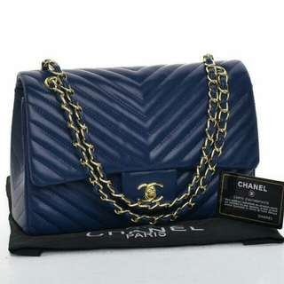 Chanel Chevron Flap Premium(Blue/Apricot)