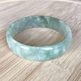 52.7mm A-Grade Type A Natural Jadeite Jade Green Modern Round Bangle No.151450