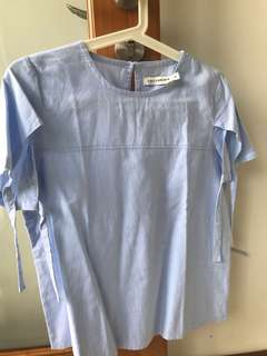 COTTONINK Simple Blue Blouse Size M