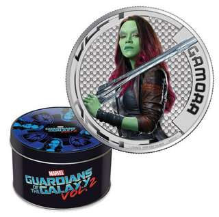 2017 1/2 oz Cook Islands Guardians of the Galaxy Gamora Silver Coin (Ultra High Relief, Box)