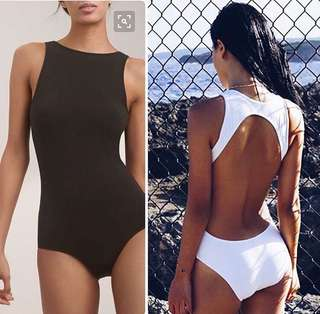 White backless one-piece swimsuit