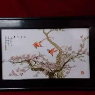 寿比介眉 - 纷彩瓷板画名画家王鹤亭作