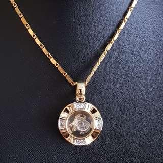 Chinese Ox zodiac lucky charm pendant (时来运转生肖) Gold & Silver Mix