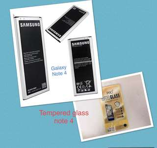 Samsung Galaxy Note 4 battery bundle tempered glass