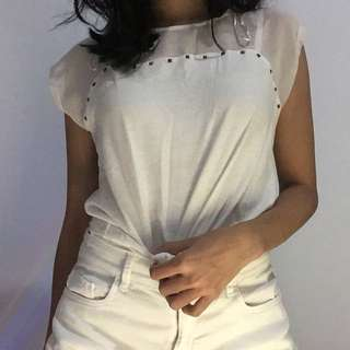 COLORBOX white studded tshirt