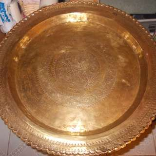 Antique Brass Big Plate with Metal Stand