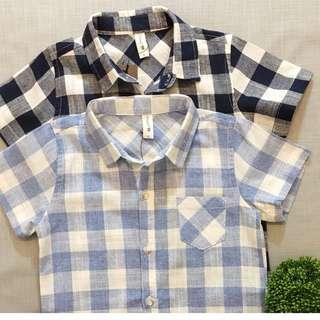 Check shirt sleeve shirt (black & light blue)