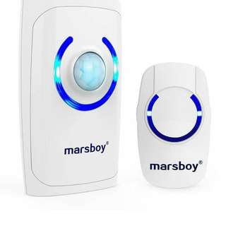 6.Marsboy 4 in 1 Wireless Doorbell with Motion Sensor Alarm Emergency Flashing Light, 36 Ringing Tones, 150 Range White