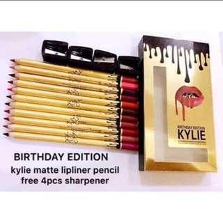 Kylie Lipliner Pencil (12 pcs + 4 sharpeners)