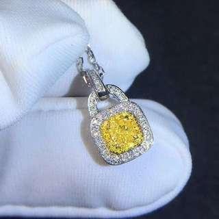 18K白金 黃鑽鑽石吊墜