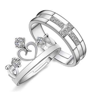 韩版气质皇冠情侣镶嵌锆石戒指王子与公主对戒男女求婚戒手饰饰品