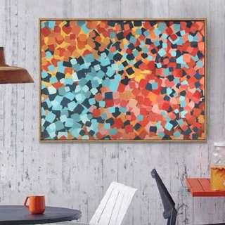 Original acrylic 2x3 feet red and blue