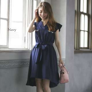 100% Authentic Tocco Japanese Brand Crystal Asymetical Ribbon dress in Navy | Imported from Japan | Japanese & Kawaii Style | Brand new condition | Stylish Trendy Nice Gorgeous | Latest korean Style | Best Woman Fashion | Singapore  No.1 blogshop
