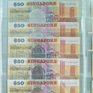 10 pcs $50 1990 commemorative polymer singapore