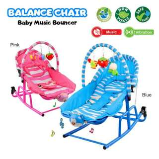 FREE POS Ready Stock Full Cotton Vibration Baby Rocker Bouncer Born Toddler Music Balance Chair