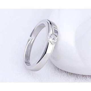 日韩气质情侣戒指对戒韩版活口结婚戒子饰品男女一对开口锆石戒指